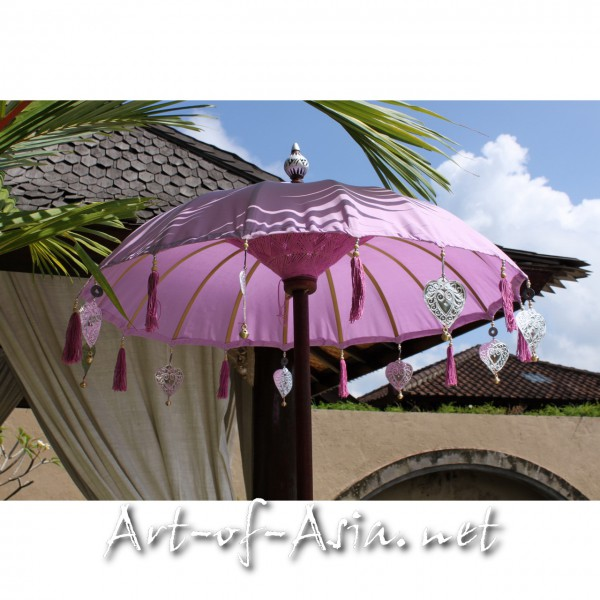 Bild 2 - Bali-Tempelschirm, 090cm Ø, Violet Tulip / silber