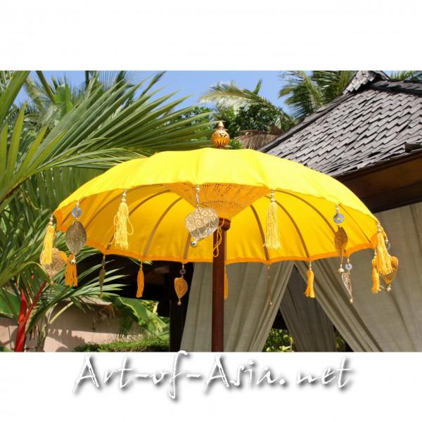 Bild 2 - Bali-Tempelschirm, 090cm Ø, Saffron / silber