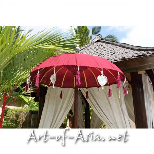 Bild 2 - Bali-Tempelschirm, 090cm Ø, Deep Claret / gold