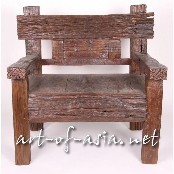 Bild 2 - Bank, 100x75cm, aus altem Teak-Holz, 1½-Sitzer, lackiert