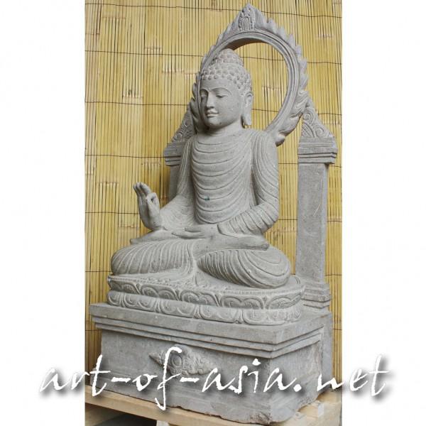Bild 2 - Buddha, sitzend, 124cm, Flußstein, mit Aureole
